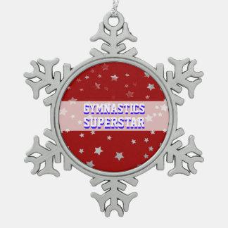Customizable Gymnastics Superstar Tumbling Stars Snowflake Pewter Christmas Ornament