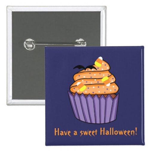 Customizable Halloween Cupcake Pinback Button