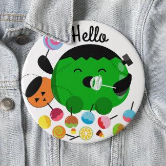 Customizable Halloween - Frankenstein and Candies 6 Cm Round Badge