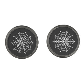 Customizable Halloween Spider Webs Gunmetal Finish Cufflinks