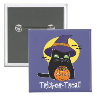 Customizable Halloween Witch Kitty Pins