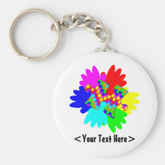 Customizable Hands And Puzzling Puzzle Piece Key Ring