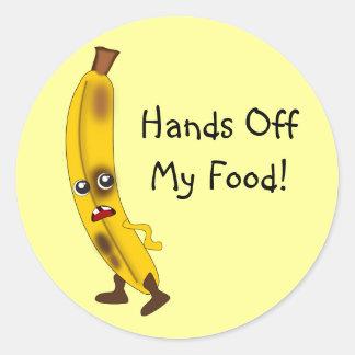 "Customizable ""Hands Off My Food"" Banana Round Sticker"