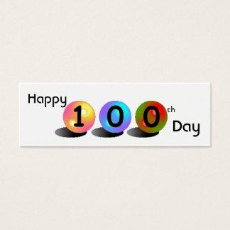 """Customizable """"Happy 100th Day"""" Mini Bookmarker Mini Business Card"""