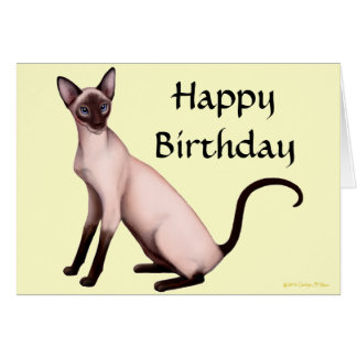 Customizable Happy Birthday Siamese Cat Card