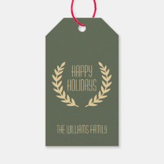 Customizable Happy Holidays Green Rustic Gift Tags