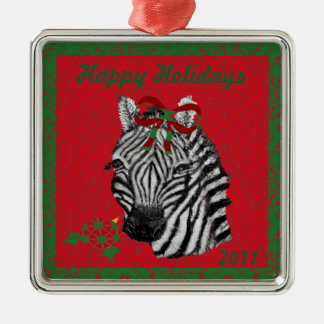 Customizable Happy Holidays Zebra Ornament