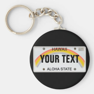 (Customizable) Hawaiian License Plate Basic Round Button Key Ring