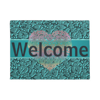 Customizable Heart and Teal Textured Welcome Mat