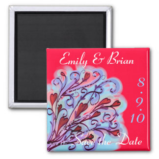 Customizable heart save the date magnet