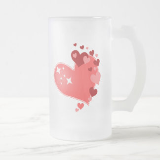 Customizable Hearts Frosted Glass Beer Mug