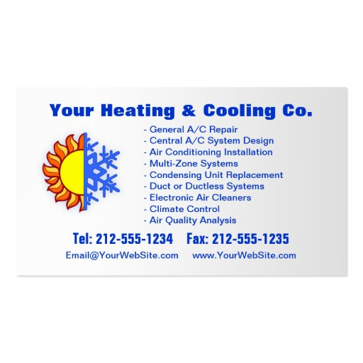 Customizable Heating Amp Cooling Business Card Zazzle