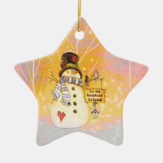 Customizable Holidays - Snowman in a Star Ornament