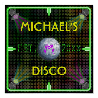 Customizable Home Bar 1970's Disco Ball Poster