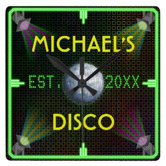 Customizable Home Bar 1970's Disco Ball Square Wall Clock