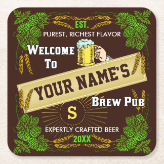 Customizable Home Bar Brewpub Beer Brewery Square Paper Coaster