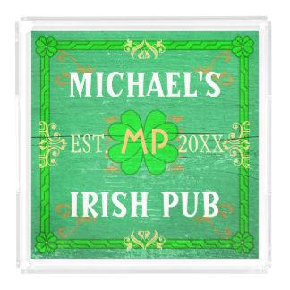Customizable Home Bar Irish Pub Green Acrylic Tray