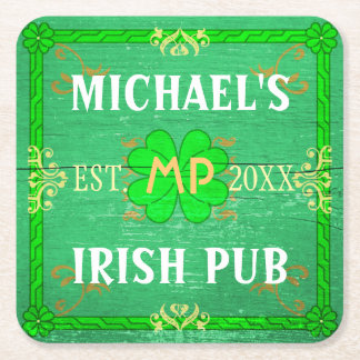 Customizable Home Bar Irish Pub Green Square Paper Coaster