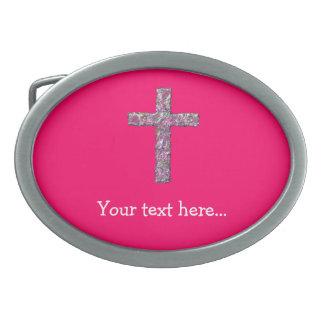 Customizable Hot Pink Cross Belt Buckles