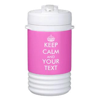 Customizable hot pink keep calm beverage cooler