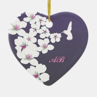 Customizable: Hummingbird and blossom on purple Ceramic Heart Decoration