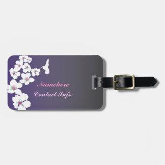 Customizable: Hummingbird and blossom on purple Luggage Tag