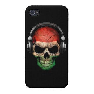 Customizable Hungarian Dj Skull with Headphones iPhone 4 Covers