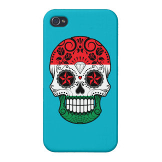 Customizable Hungarian Flag Sugar Skull with Roses iPhone 4 Cases