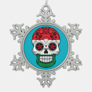 Customizable Hungarian Flag Sugar Skull with Roses Snowflake Pewter Christmas Ornament