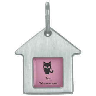 Customizable ID pet tag for cat: pink