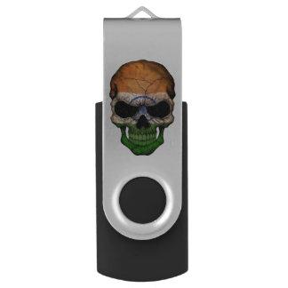 Customizable Indian Flag Skull Swivel USB 2.0 Flash Drive