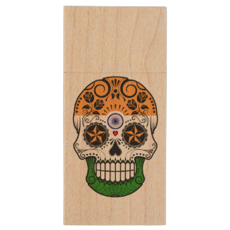 Customizable Indian Flag Sugar Skull with Roses Wood USB 2.0 Flash Drive