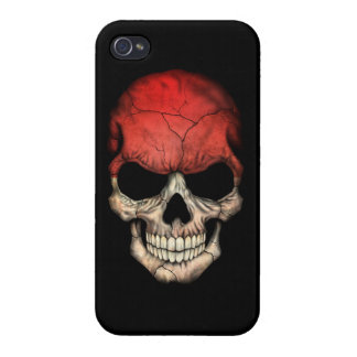 Customizable Indonesian Flag Skull Cases For iPhone 4