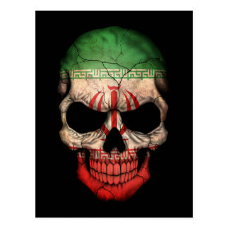 Customizable Iranian Flag Skull Postcard