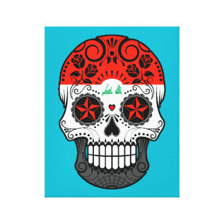 Customizable Iraqi Flag Sugar Skull with Roses Gallery Wrapped Canvas