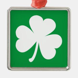 Customizable Irish Shamrock Silver-Colored Square Decoration