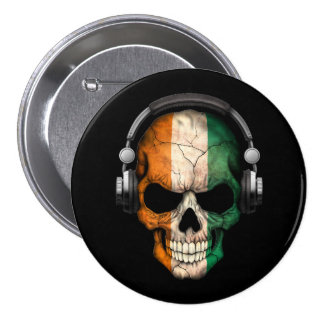 Customizable Ivory Coast Dj Skull with Headphones Pinback Buttons