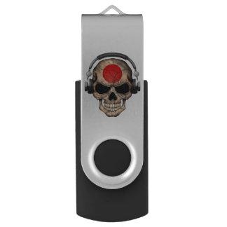 Customizable Japanese Dj Skull with Headphones Swivel USB 2.0 Flash Drive