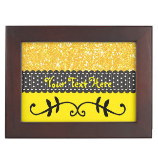 Customizable Jewelry Box Yellow Glitter