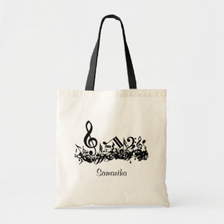 Customizable Jumbled Musical Notes Black and White Budget Tote Bag