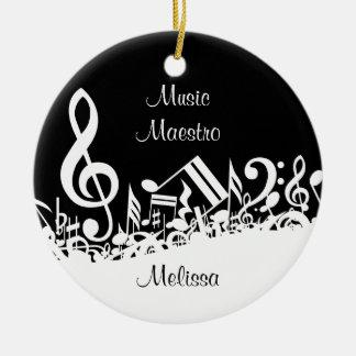 Customizable Jumbled Musical Notes Ornament