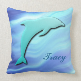 Customizable Jumping Dolphin 3D effect monogram Cushion
