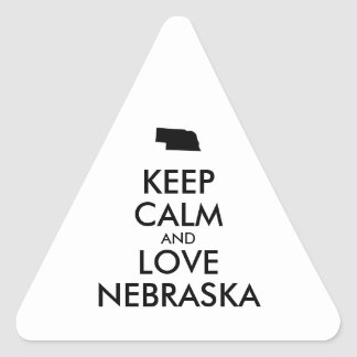 Customizable KEEP CALM and LOVE NEBRASKA Triangle Sticker