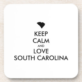 Customizable KEEP CALM and LOVE SOUTH CAROLINA Coasters