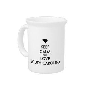 Customizable KEEP CALM and LOVE SOUTH CAROLINA Pitcher