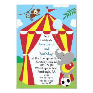"Customizable Kids Circus Birthday Party 5"" X 7"" Invitation Card"