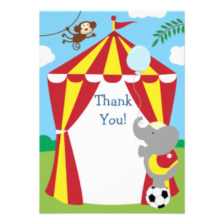 Customizable Kids Circus Thank You Personalized Announcement