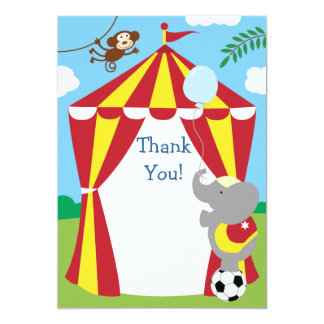 "Customizable Kids Circus Thank You 5"" X 7"" Invitation Card"