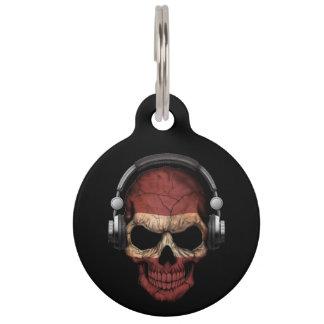 Customizable Latvian Dj Skull with Headphones Pet Tags