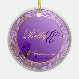 Customizable Lavender Purple Bridesmaid Keepsake Round Ceramic Decoration
